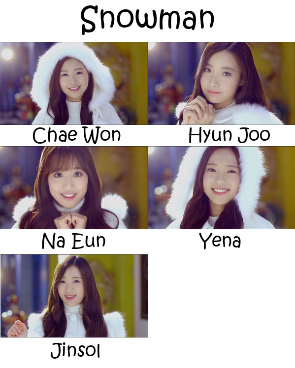 "The members of April in the ""Snowman"" MV"