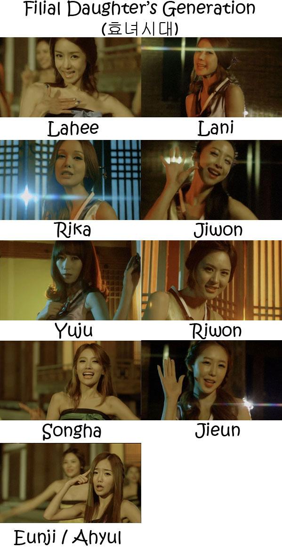 "The members of LPG in the ""Filial Daughters Generation"" MV"