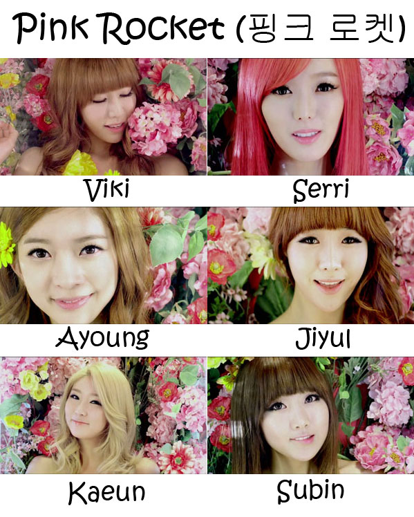 "The members of Dal Shabet in the ""Pink Rocket"" MV"