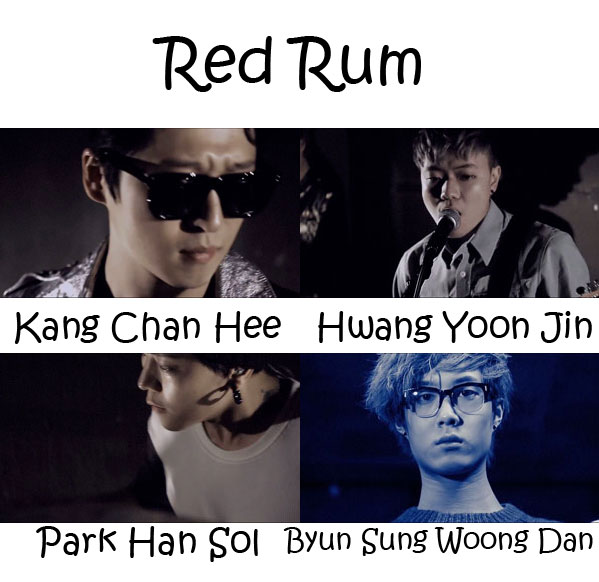 "The members of Hologram Film in the ""Red Rum"" MV"