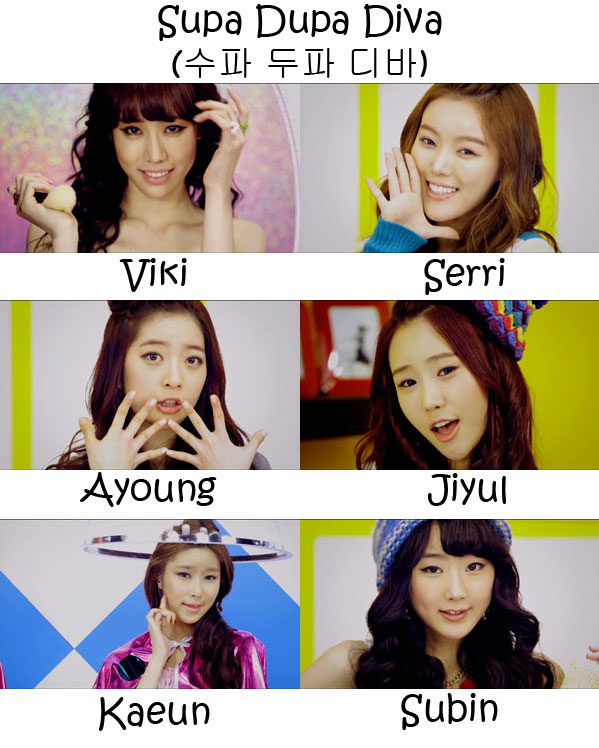 "The members of Dal Shabet in the ""Supa Dupa Diva"" MV"