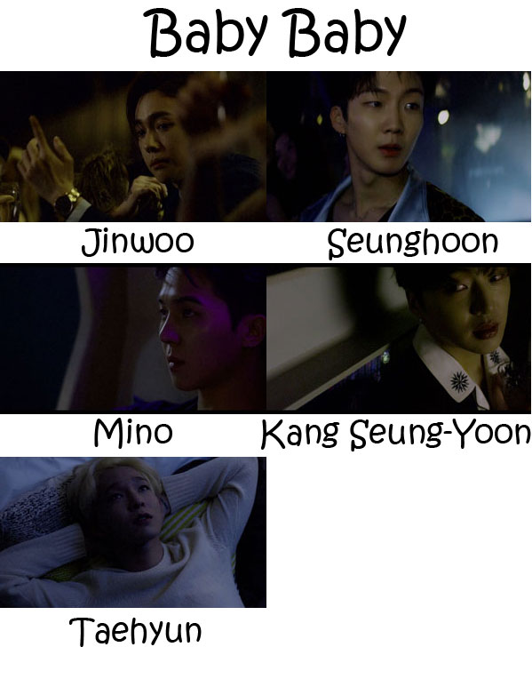 "The members of WINNER in the ""Baby Baby"" MV"