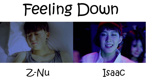 "The members of Type:b in the ""Feeling Down"" MV"