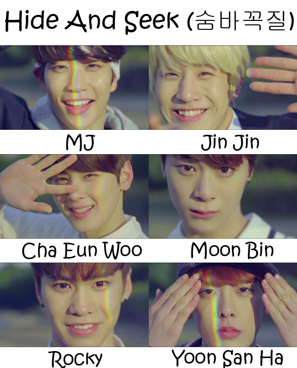 "The members of Astro in the ""Hide And Seek"" MV"