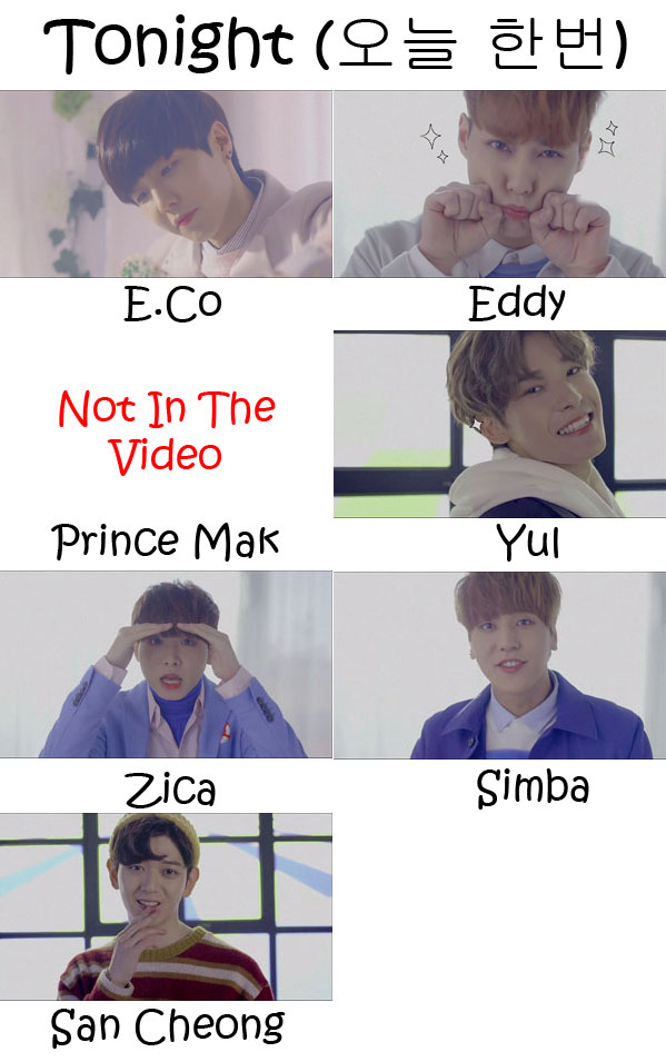 "The members of JJCC in the ""Tonight"" MV"