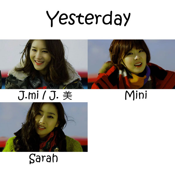 "The members of Lush in the ""Yesterday"" MV"