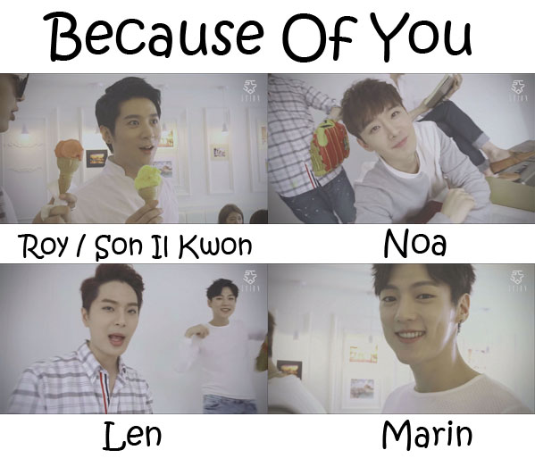 "The members of 5tion in the ""Because Of You"" MV"
