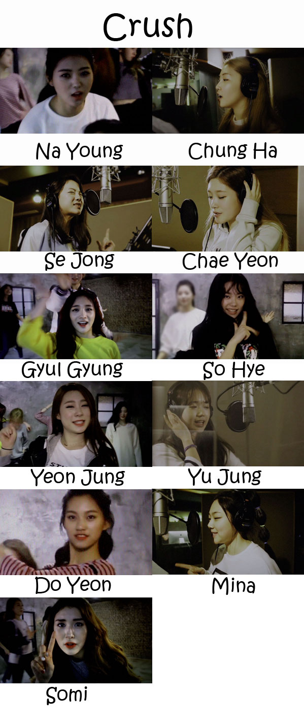 """The members of I.O.I in the """"Crush"""" MV"""