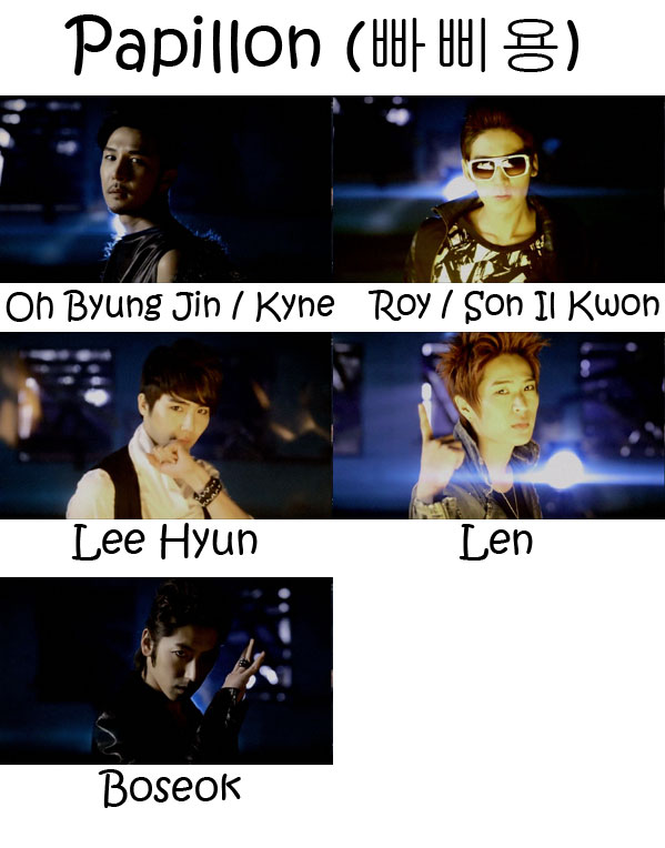 "The members of 5tion in the ""Papillon"" MV"