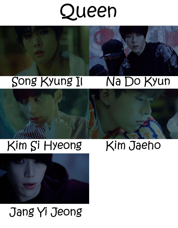 """The members of History in the """"Queen"""" MV"""