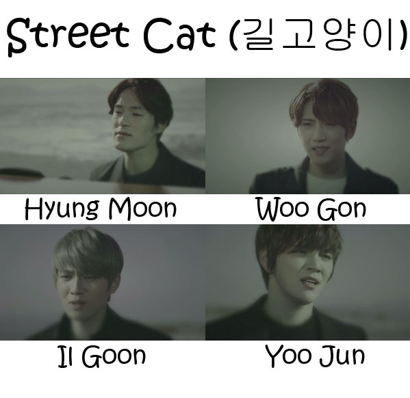 "The members of Tritops in the ""Street Cat"" MV"
