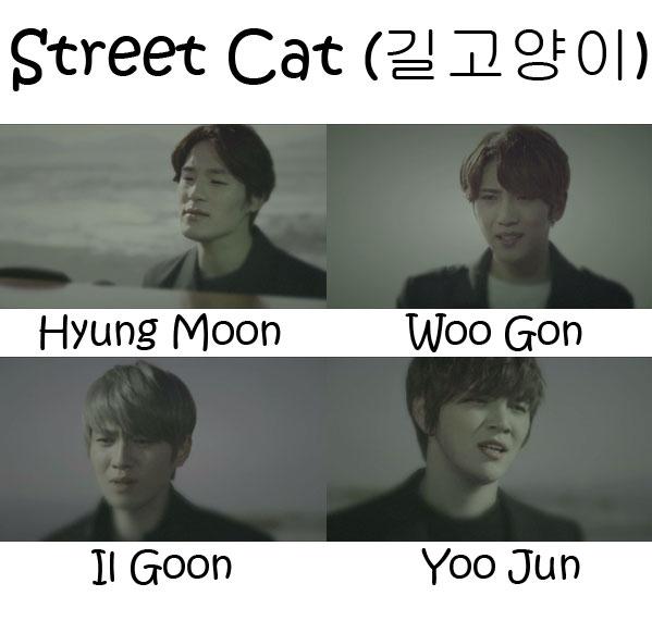 "The members of Tritops in the ""Street Cat"" MV"