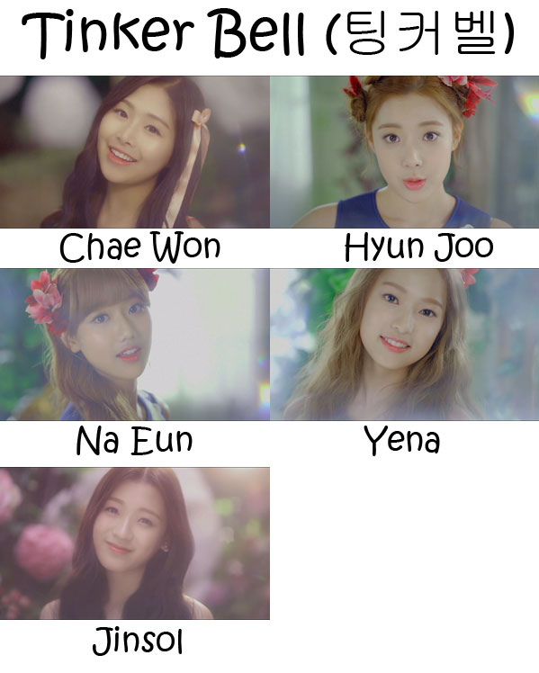 "The members of April in the ""Tinker Bell"" MV"