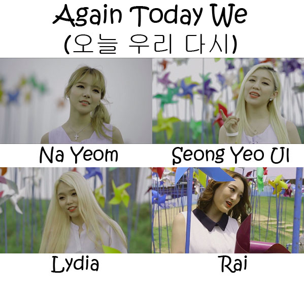 "The members of A.N.D.S in the ""Again Today We"" MV"