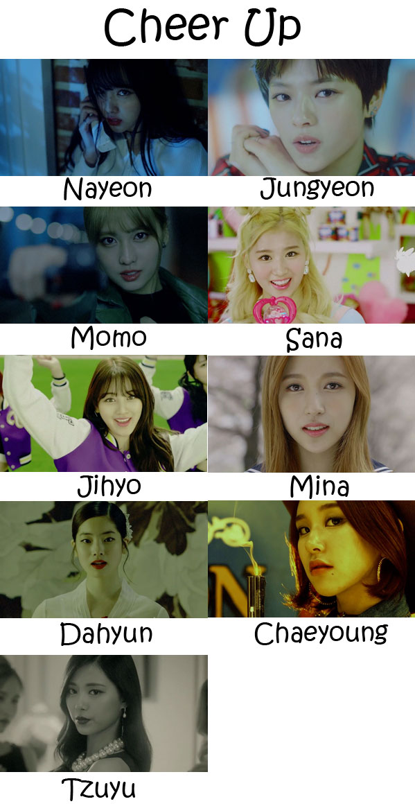 "The members of Twice in the ""Cheer Up"" MV"