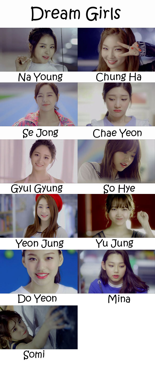 "The members of I.O.I in the ""Dream Girls"" MV"