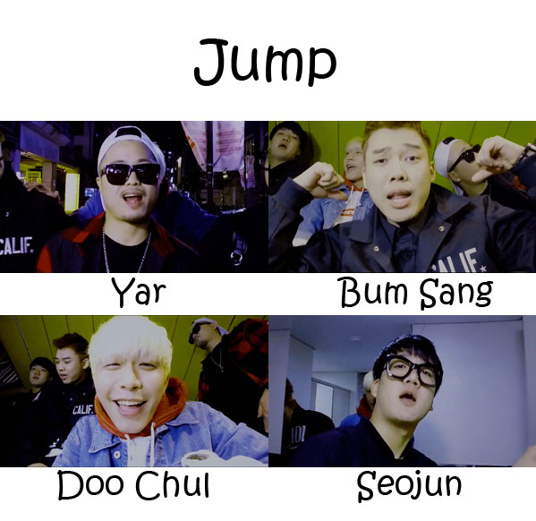 "The members of Nolza in the ""Jump"" MV"