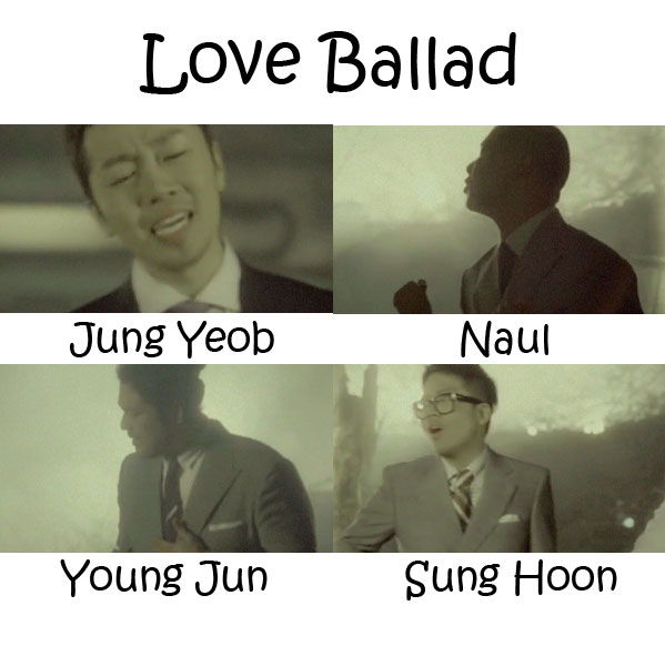 "The members of Brown Eyed Soul in the ""Love Ballad"" MV"
