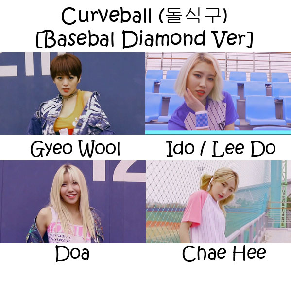 "The members of Sol-T in the ""Curveball (Baseball Diamond Ver)"" MV"