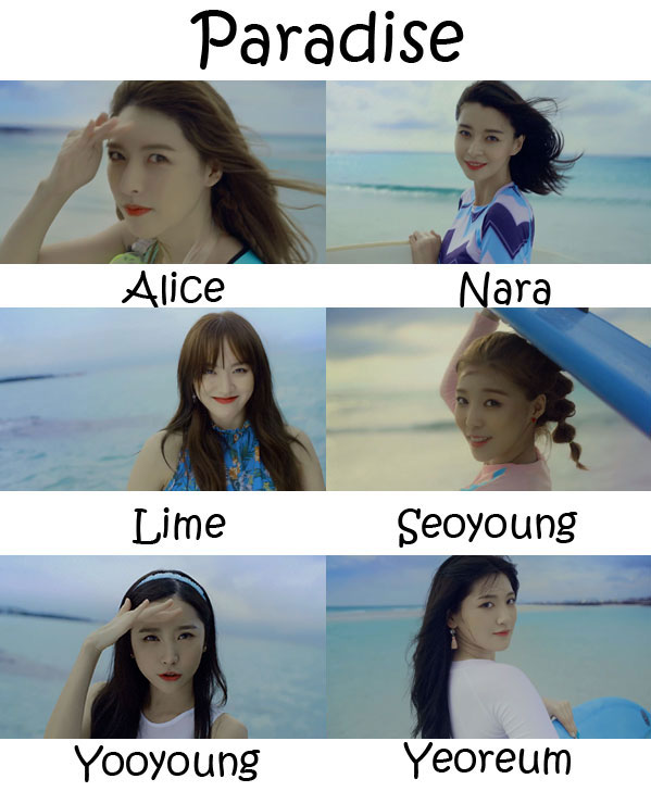 "The members of Hello Venus in the ""Paradise"" MV"