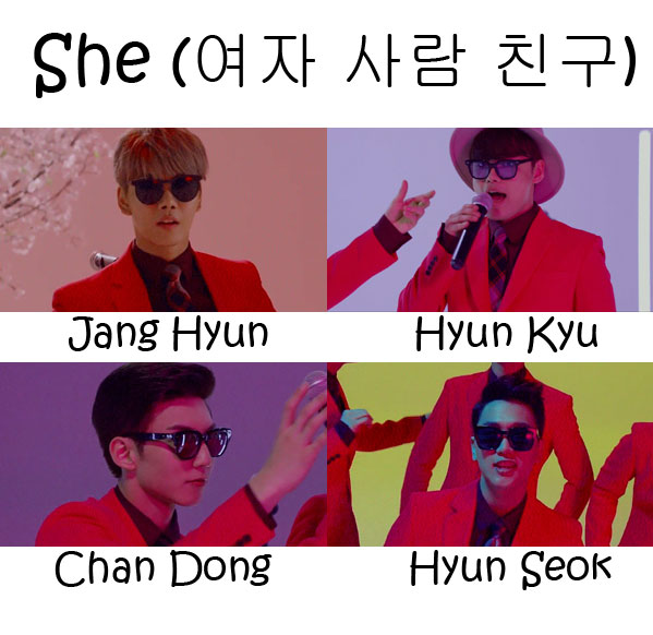 "The members of Vromance in the ""She"" MV"