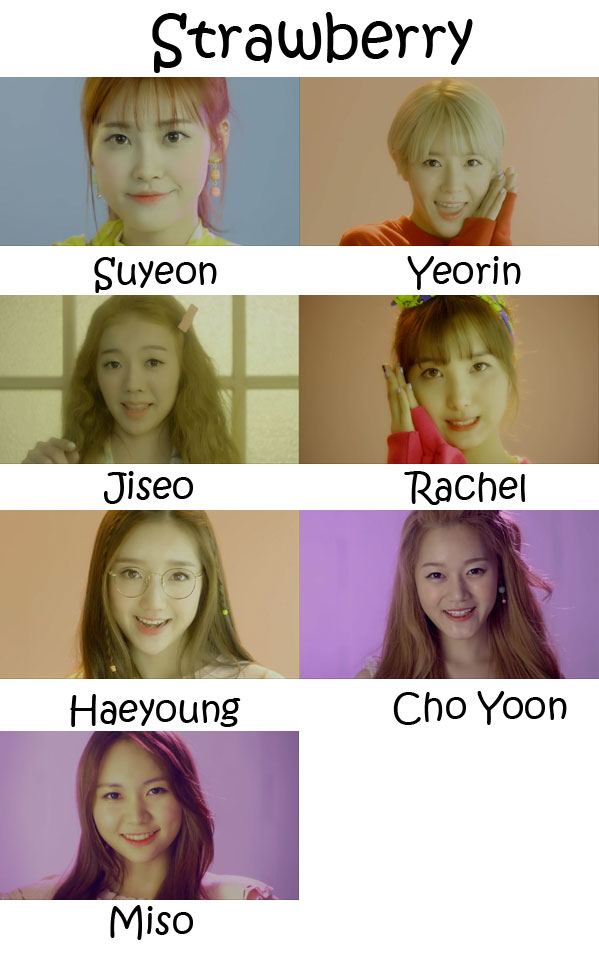 "The members of A.De in the ""Strawberry"" MV"