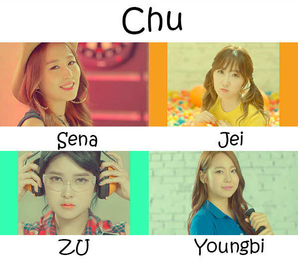 "The members of A-Daily in the ""Chu"" MV"