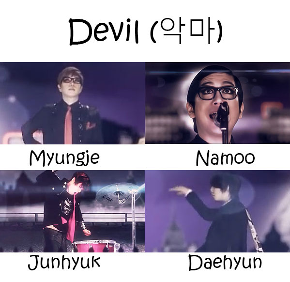 "The members of Annyeong Bada in the ""Devil"" MV"