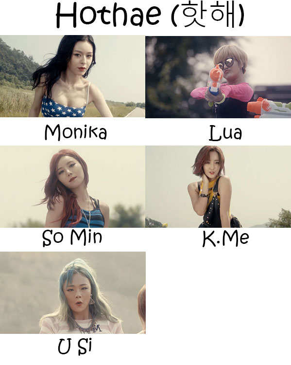 "The members of Badkiz in the ""Hothae"" MV"