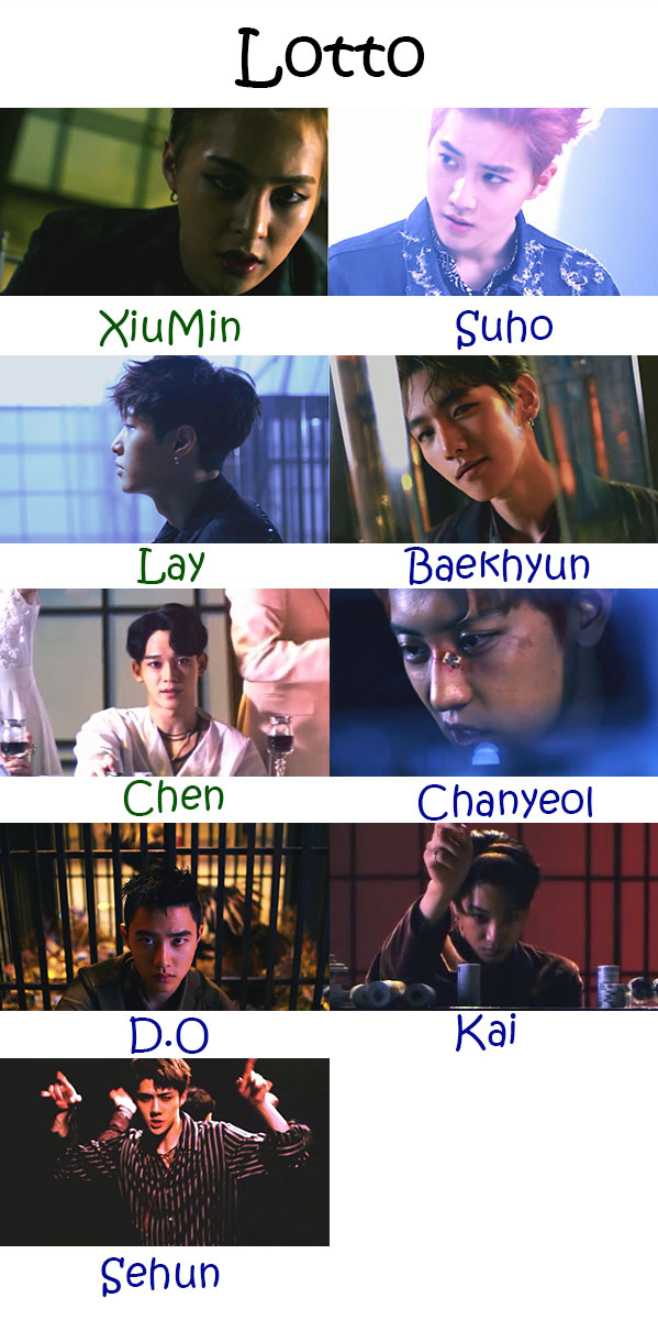 "The members of EXO in the ""Lotto"" MV"