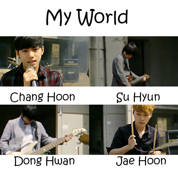 "The members of IMGL in the ""My World"" MV"