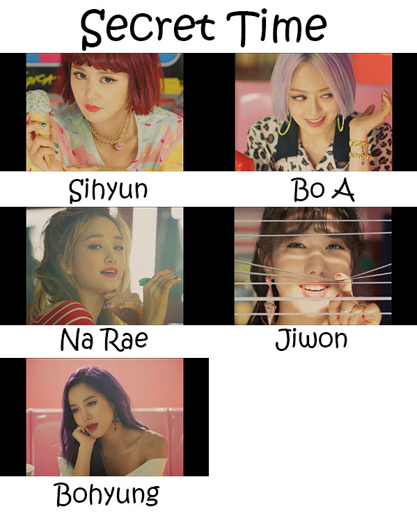 "The members of Spica in the ""Secret Time"" MV"