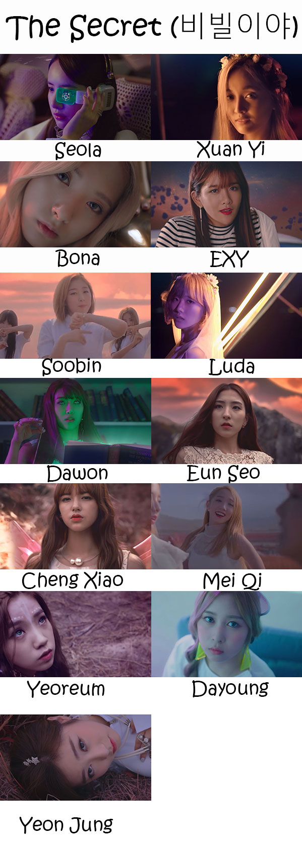 "The members of Cosmic Girls in the ""The Secret"" MV"