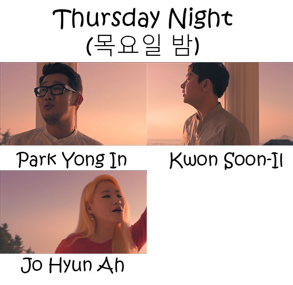 "The members of Urban Zakapa in the ""Thursday Night"" MV"