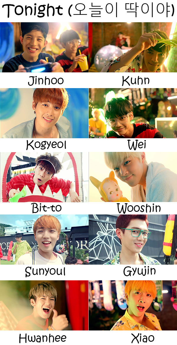 "The members of Up10tion in the ""Tonight"" MV"