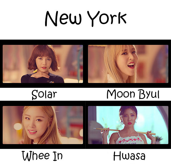 "The members of MAMAMOO in the ""New York"" MV"
