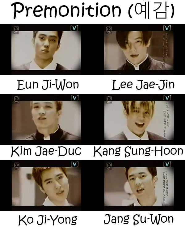 "The members or Sechs Kies in the ""Premonition"" MV"