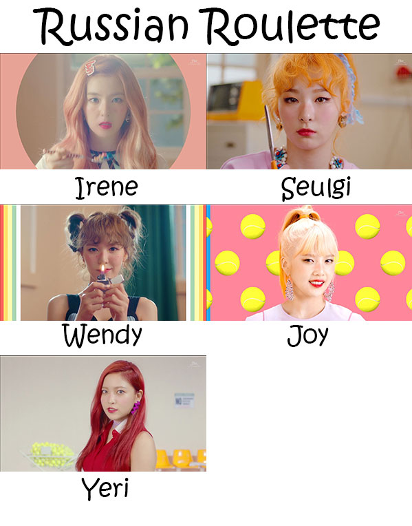 "The members of Red Velvet in the ""Russian Roulette"""