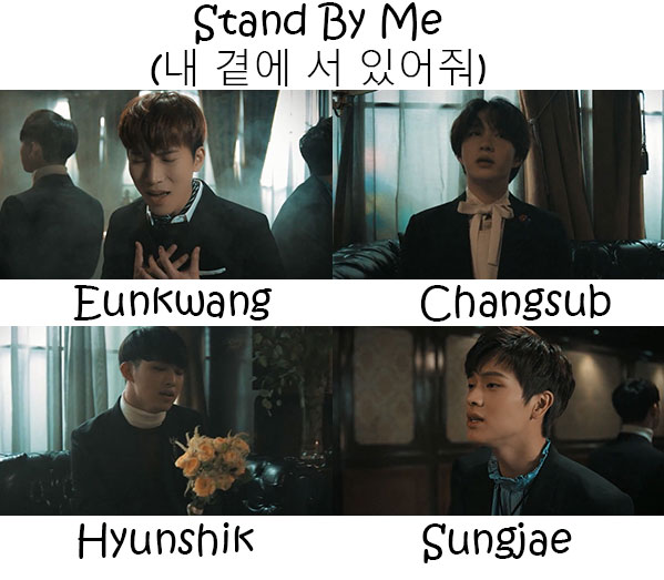 "The members of BTOB Blue in the ""Stand By Me"" MV"