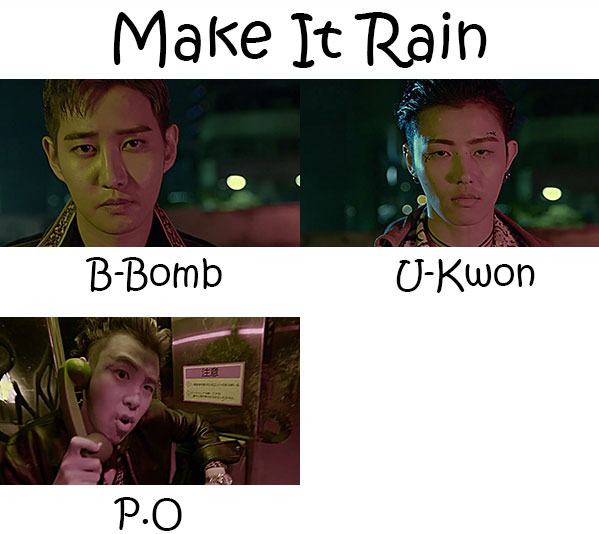 "The members of Block B BASTARZ in the ""Make It Rain"" MV"