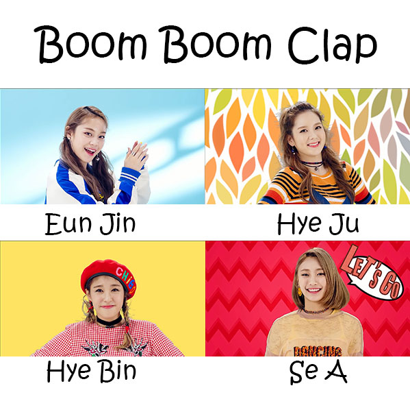"The members of Highteen in the ""Boom Boom Clap"" MV"