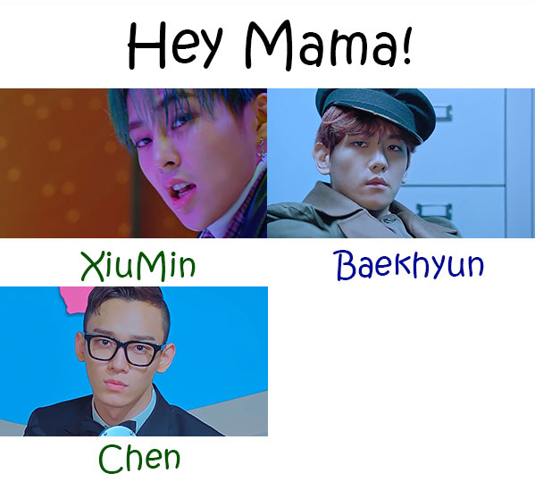 "The members of EXO - CBX in the ""Hey Mama"" MV"