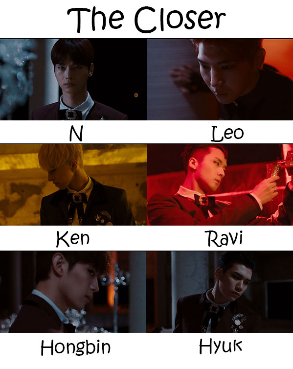 "The members of VIXX in the ""The Closer"" MV"