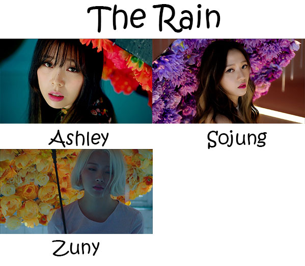 "The members of Ladies' Code in the ""The Rain"" MV"