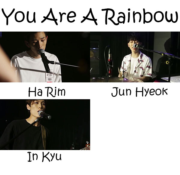 "The members of Movning in the ""You Are A Rainbow"" MV"