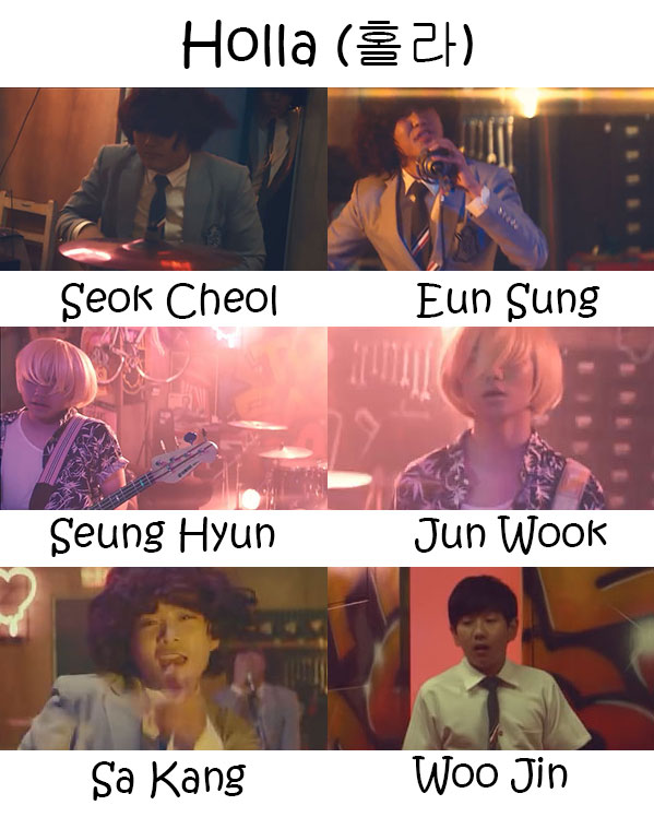 "The members of The Eastlight in the ""Holla"" MV"