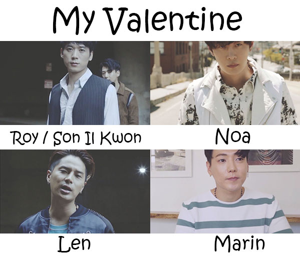 "The members of 5tion in the ""My Valentine"" MV"