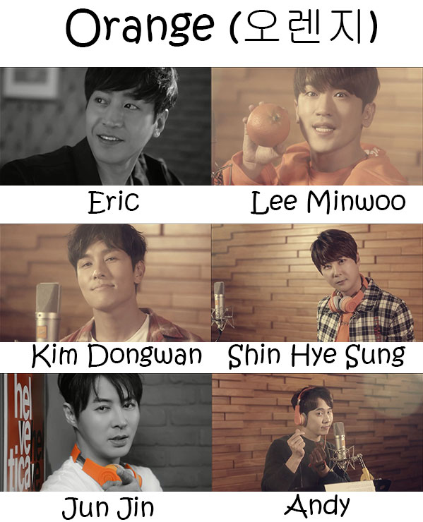 "The members of Shinhwa in the ""Orange"" MV"