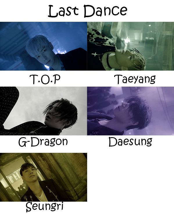 "The members of Big Bang in the ""Last Dance"" MV"