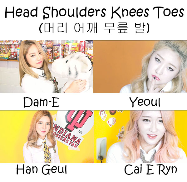 "The members of Dice in the ""Head Shoulders Knees Toes"" MV"